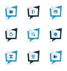 media icons colored set with zoom out start vector image