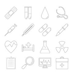 Medicine and Health line icons vector