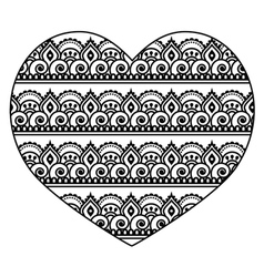 Mehndi Indian Henna tattoo heart seamless pattern vector image