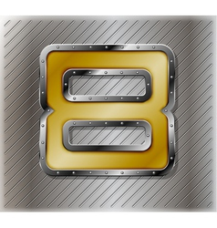 Metallic number eight vector image