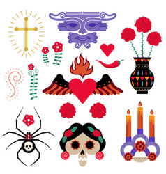 Mexican tattoo or sticker elements set vector