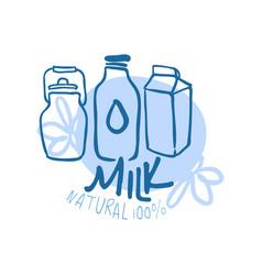 milk natural product logo symbol colorful hand vector image