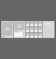 Monthly calendar for 2021 year week starts on vector