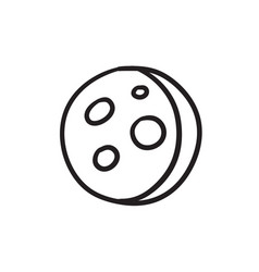 Moon surface with cheese holes sketch icon vector