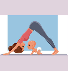 mother exercising with her baon yoga mat vector image