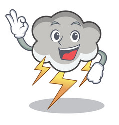 Okay thunder cloud character cartoon vector