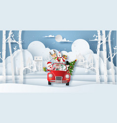 origami paper art style christmas red car with vector image