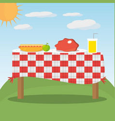 Picnic table red checkered food landscape vector