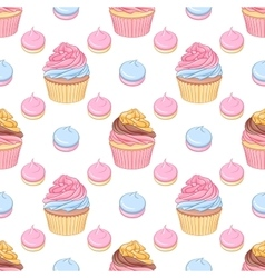 Pink and chocolate cream cupcakes and meringues vector