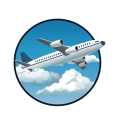 Plane blue sky clouds circle background vector