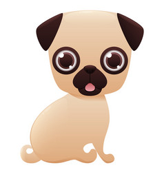 pug cute cartoon character vector image