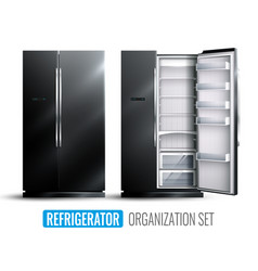 Refrigerator organization monochrome set vector