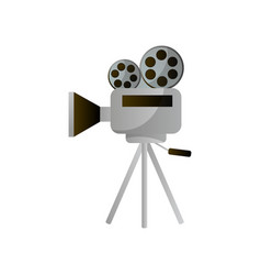 retro reel camera for film production or city vector image