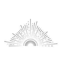 retro sunburst sign black thin line vector image