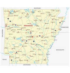 Road map of the us state arkansas vector