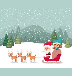 santa claus and girl helper with sled and reindeer vector image
