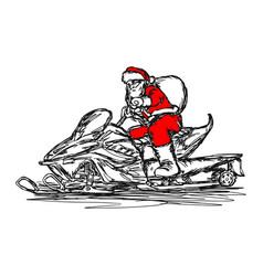 Santa claus driving snowmobile vector