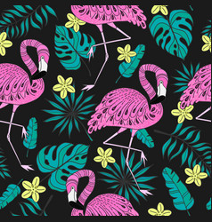 Seamless pattern with flamingo exotic leaves vector