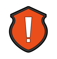 Security shield with alert sign isolated icon vector