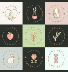 set eco healthy natural emblems and logos vector image