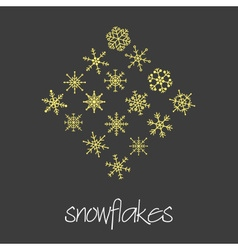 Set of 16 types of green snowflakes eps10 vector