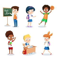 Set of cheerful school children Students cartoon vector