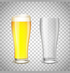 Set of glass empty and with beer on a transparent vector