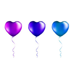 set purple and blue foil heart shaped balloons vector image