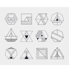Set retro line abstract hipster monochrome vector