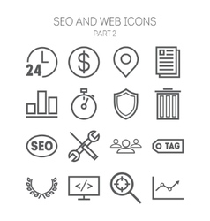 set simple icons for search engine optimization vector image