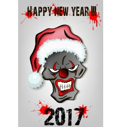 Skull scary evil clown in Santa hat vector image
