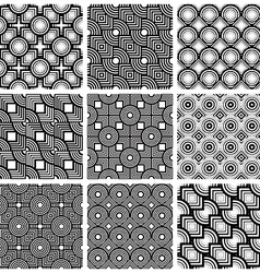 Squares and circles black and white geometric vector image
