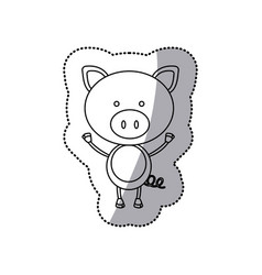 Sticker monochrome contour with male pig vector