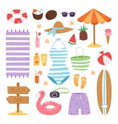 Summer fashion beach sea time swimsuit clothes vector