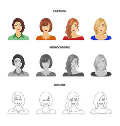 The appearance of a woman with a hairdo the face vector