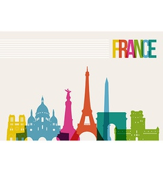 Travel france destination landmarks skyline vector
