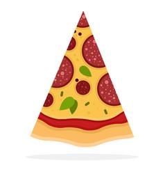 triangular slice pepperoni pizza flat icon vector image