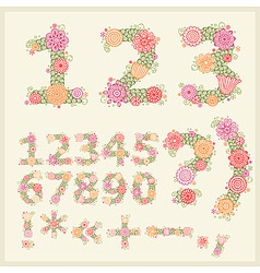 vector colorful flower font vector image