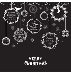 Vintage Christmas Card - for design and scrapbook vector image