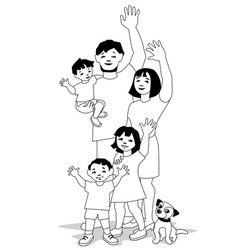 waving family bw vector image