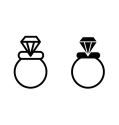 Wedding ring line and glyph icon engagement ring vector