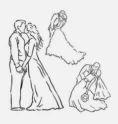 Wedding romantic couple sketches vector