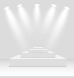white winners podium with spotlights pedestal vector image