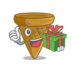 With gift empty wafer cone for ice cream character vector