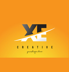 xe x e letter modern logo design with yellow vector image