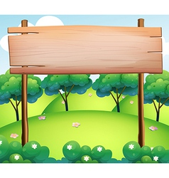 An empty wooden board at the top of the hills vector image