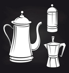 coffee pot stickers on blackboard background vector image vector image