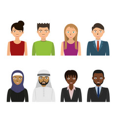 male and female faces business people set vector image
