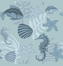 seamless pattern with aquatic animals and plants vector image vector image