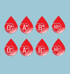 set of blood group flat design vector image
